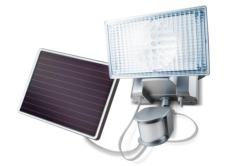 LED Flood Lights: Silver 150-LED Solar-Powered Security Floodlight