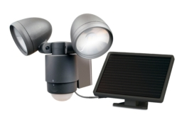 "LED Flood Lights: Dark Bronze 10"" Solar Powered LED Dual Head Spotlight"