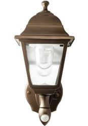 Exterior Decorative Lights: Bronze Battery-Powered Motion-Activated Wall Sconce
