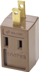 Cooper 4400B Non-Grounding Polarized Cube Outlet Adapter