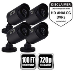 4 Pk 720p Wired  Sec Cam Blk