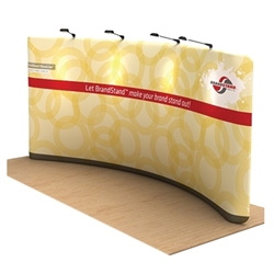 Waveline Curved Single Sided trade show display, attention grabbing convention booth, is an all inclusive display that is affordable, easy to set up and looks amazing. Works like a large pillow case, folding over the aluminum tubing to form a shape.