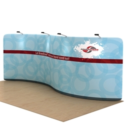 Waveline Serpentine Single Sided trade show display, attention grabbing convention booth, is an all inclusive display that is affordable, easy to set up and looks amazing. Works like a large pillow case, folding over the aluminum tubing to form a shape.
