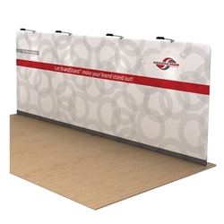 Waveline Double Single Sided trade show display, attention grabbing convention booth, is an all inclusive display that is affordable, easy to set up and looks amazing. Works like a large pillow case, folding over the aluminum tubing to form a shape