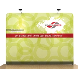 Waveline Straight trade show display, attention grabbing convention booth, is an all inclusive display that is affordable, easy to set up and looks amazing. Works like a large pillow case, folding over the aluminum tubing to form a shape.