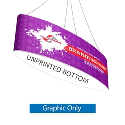 10ft x 24in Blimp Ellipse Hanging Tension Fabric Banner - with Blank Bottom- Graphic only. The Blimp Ellipse hanging banner frame present your brand or convey your message fast, up high and from all directions.
