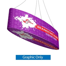 10ft x 24in Blimp Ellipse Hanging Tension Fabric Banner - With Printed Bottom - Graphic Only. The Blimp Ellipse hanging banner frame present your brand or convey your message fast, up high and from all directions.