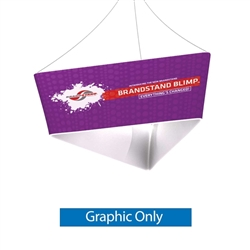 10ft x 36in Blimp Tapered Trio Hanging Banner Outside Graphic Print Only. Blimp Tapered Trio Hanging Banners available in exciting shapes and practical sizes to meet any trade show or event need. Rise Above Your Competition with Trade Show Hanging Banner