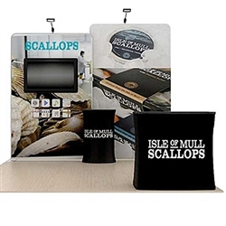 10ft Scallop A Waveline Media Single-Sided Backwall with TV Mount and Counter Option Molded Case with Graphic. Waveline Media Monitor Displays trade show displays are hottest display on the exhibit market.