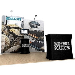 Scallop B 10ft Waveline Single-Sided Tension Fabric trade show display, attention grabbing convention booth, is an all inclusive display that is affordable. Scallop B 10 ft WaveLine Media Display is part of an amazing collection of Booth Display Kits