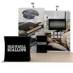 10' Scallop B Waveline Media Single-Sided Backwall with TV Mount and Counter Option Molded Case with Black Skirt, attention grabbing convention booth, is an all inclusive display. Interactive Waveline Media with sensors allows users to drive content on an