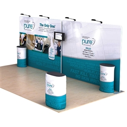 Dolphin A 20' Waveline Media Single-Sided Tension Fabric trade show display, attention grabbing convention booth, is an all inclusive display that is affordable, easy to set up and looks amazing. Works like a large pillow case