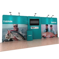 20ft Tarpon A Waveline Media Single-Sided Backwall  with TV Mount and Counter Option Molded Case with Black Skirt, attention grabbing convention booth, is an all inclusive display that is affordable. Interactive waveline Touch is a fabric backwall display