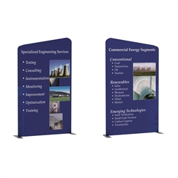 57W x 96H  Waveline Media Panel A Left Double Sided features quick, easy setup and a beautiful, large-format graphic. Waveline Media Panels can be used individually or together, giving you greater flexibility to create any exhibit size.