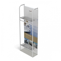 3ft x 10ft Merchandiser Display White Plate Kit 5 with 2 shelf and Garment Bar represent the latest developments in the evolution of event and trade show display technology. Merchandiser 8 FT Display is a way to feature merchandise at your tradeshow