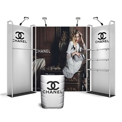 10ft Merchandiser Backwall Display White Plate Kit 1 is a terrific way to feature merchandise at your tradeshow! Merchandiser Backwall is an increasingly popular choice amongst retailers, exhibitors to conserve space while showcasing a variety of products