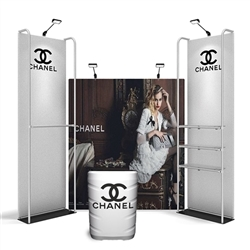 10ft Merchandiser Backwall Display Black Plate Kit 2 is a terrific way to feature merchandise at your tradeshow! Merchandiser Backwall is an increasingly popular choice amongst retailers, exhibitors to conserve space while showcasing a variety of products
