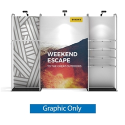 11ft WaveLine Merchandiser - Kit 01 - Single-Sided  Graphic  Only .  Choose this easy, impactful and affordable display to stand out from your competition at your next trade show.