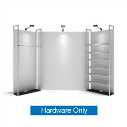 WaveLine Merchandiser - Kit S02 - Hardware Only - White Base.  Choose this easy, impactful and affordable display to stand out from your competition at your next trade show.