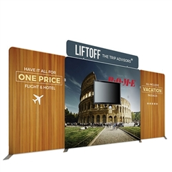 20ft Atlantic B Makitso Waveline Media Single-Sided Fabric Display With TV Mount is one of the most popular exhibits. It is affordable, easy to set up and looks amazing. Works like a large pillow case.