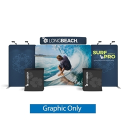20ft Waveline Media Tension Fabric Display by Makitso - Caribbean-C - Single Sided Graphic Only.  Choose this easy, impactful and affordable display to stand out from your competition at your next trade show.