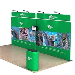 20ft Waveline Media Tension Fabric Display by Makitso - Dolphin B - Single Sided with TV Mount.  Choose this easy, impactful and affordable display to stand out from your competition at your next trade show.