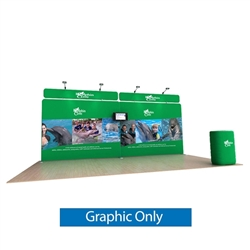 20ft Waveline Media Tension Fabric Display by Makitso - Dolphin B - Single Sided Graphic Only.  Choose this easy, impactful and affordable display to stand out from your competition at your next trade show.