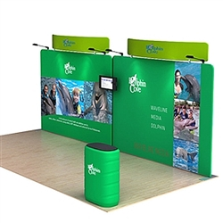 20ft Waveline Media Tension Fabric Display by Makitso - Dolphin C - Double Sided with TV Mount.  Choose this easy, impactful and affordable display to stand out from your competition at your next trade show.