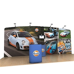20ft Waveline Media Tension Fabric Display by Makitso - Gulf - Single Sided with TV Mount.  Choose this easy, impactful and affordable display to stand out from your competition at your next trade show.