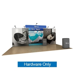 20ft Waveline Media Tension Fabric Display by Makitso - Orca B - Hardware Only.  Choose this easy, impactful and affordable display to stand out from your competition at your next trade show.