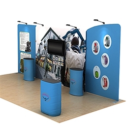 20ft Waveline Media Tension Fabric Display by Makitso - Osprey A - Single Sided with TV Mount.  Choose this easy, impactful and affordable display to stand out from your competition at your next trade show.