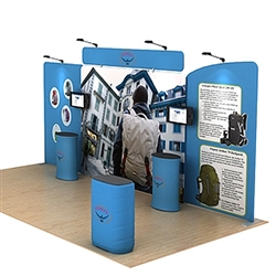 20ft Waveline Media Tension Fabric Display by Makitso - Osprey B - Single Sided.  Choose this easy, impactful and affordable display to stand out from your competition at your next trade show.