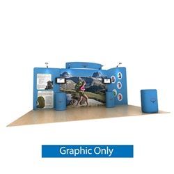 20ft Waveline Media Tension Fabric Display by Makitso - Osprey C - Single Sided Graphic Only.  Choose this easy, impactful and affordable display to stand out from your competition at your next trade show.