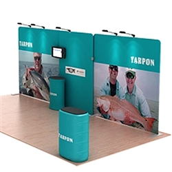 20ft Waveline Media Tension Fabric Display by Makitso -  Tarpon A    - Single Sided.  Choose this easy, impactful and affordable display to stand out from your competition at your next trade show.