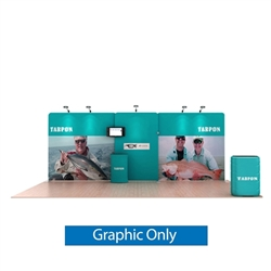 20ft Waveline Media Tension Fabric Display by Makitso -  Tarpon A    - Single Sided Graphic Only.  Choose this easy, impactful and affordable display to stand out from your competition at your next trade show.