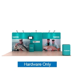 20ft Waveline Media Tension Fabric Display by Makitso -  Tarpon A    - Hardware Only.  Choose this easy, impactful and affordable display to stand out from your competition at your next trade show.