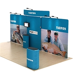 20ft Waveline Media Tension Fabric Display by Makitso - Tarpon-B  - Single Sided.  Choose this easy, impactful and affordable display to stand out from your competition at your next trade show.