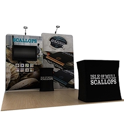 10ft Waveline Media Tension Fabric Display by Makitso -  Scallop B   - Single Sided with TV Mount.  Choose this easy, impactful and affordable display to stand out from your competition at your next trade show.