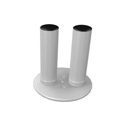WaveLine Double Hole Circular Foot. WaveLine single edge foot with aluminum necking for the WaveLine series of exhibit systems.