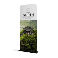 36in x 89in WaveLine Banner Stand -  Rounded Corners,  Single-Sided Kit with White Base.  Choose this easy, impactful and affordable display to stand out from your competition at your next trade show.