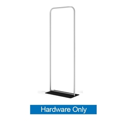 36in x 89in WaveLine Banner Stand -  Rounded Corners, White Base - Hardware Only.  Choose this easy, impactful and affordable display to stand out from your competition at your next trade show.