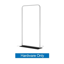 48in x 89n WaveLine Banner Stand -  Rounded Corners,  Black Base - Hardware Only.  Choose this easy, impactful and affordable display to stand out from your competition at your next trade show.