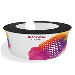 Waveline Infodesk Counter - 12CO - Package (Graphic and Hardware).  Choose this easy, impactful and affordable display to stand out from your competition at your next trade show.
