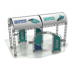 20ft x 20ft Island Cassiopeia Orbital Express Truss Display with Fabric Graphic is the next generation in trade show exhibits. Cassiopeia Orbital Express Truss Kit is a premium trade show display is designed to be used in a 20ft x 20ft exhibit space