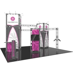 20ft x 20ft Island Calypso Orbital Express Truss Display with Fabric Graphic is the next generation in dynamic trade show exhibits. Calypso Orbital Express Truss Kit is a premium trade show display is designed to be used in a 20ft x 20ft exhibit space