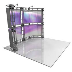 This 10 x 10 custom trade show truss system will help you stand out at the next trade show, drawing attention from across the exhibit floor.  Truss exhibits are one of the most structurally elaborate trade show displays.  They are popular with exhibitors