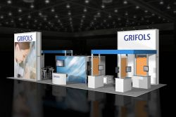 Custom trade show exhibit structures, like design # 46112 stand out on the convention floor. Draw eyes to your trade show booth with exciting custom exhibits & displays. We can customize any trade show exhibit or display to your specifications.