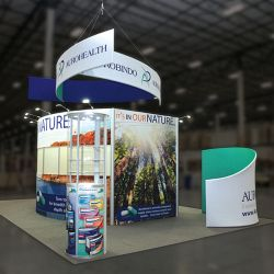 Custom trade show exhibit structures, like design # 614238 stand out on the convention floor. Draw eyes to your trade show booth with exciting custom exhibits & displays. We can customize any trade show exhibit or display to your specifications.