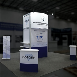 Custom trade show exhibit structures, like design # 0744151 stand out on the convention floor. Draw eyes to your trade show booth with exciting custom exhibits & displays. We can customize any trade show exhibit or display to your specifications.