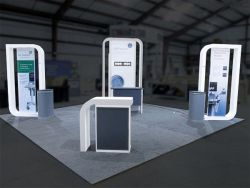 Custom trade show exhibit structures, like design # 324401 stand out on the convention floor. Draw eyes to your trade show booth with exciting custom exhibits & displays. We can customize any trade show exhibit or display to your specifications.
